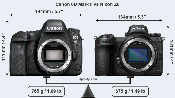 Size Canon 6D Mark II vs Nikon Z6