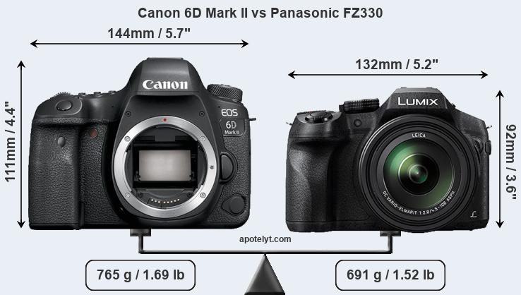 Size Canon 6D Mark II vs Panasonic FZ330