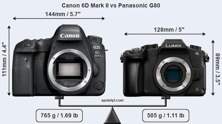 Size Canon 6D Mark II vs Panasonic G80