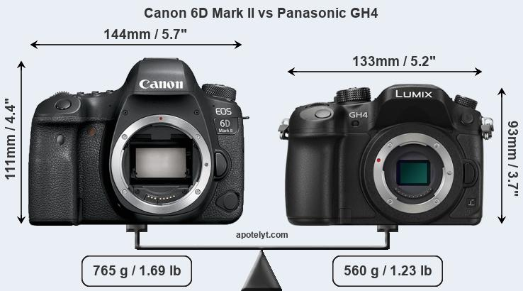 Size Canon 6D Mark II vs Panasonic GH4