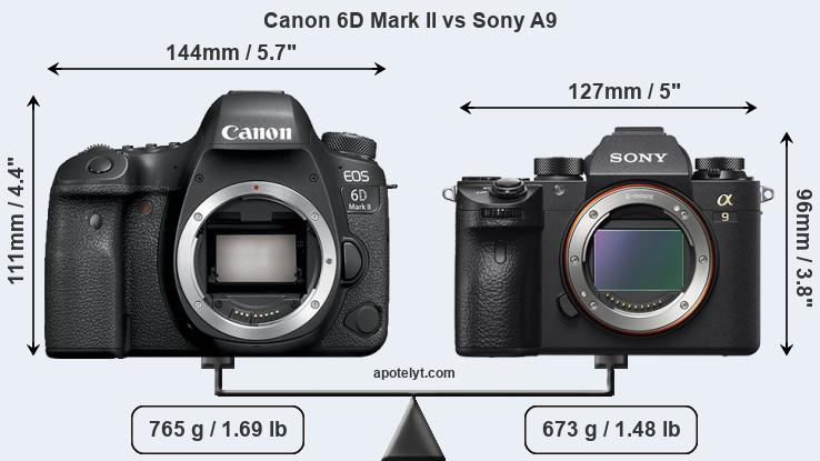 Size Canon 6D Mark II vs Sony A9