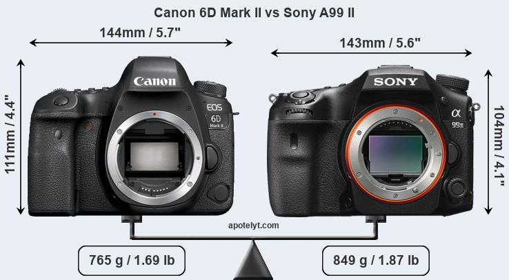 Size Canon 6D Mark II vs Sony A99 II