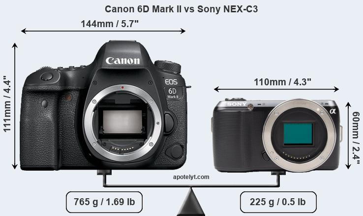 Size Canon 6D Mark II vs Sony NEX-C3