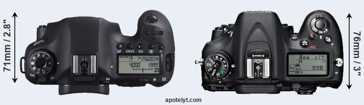 6D versus D7100 top view