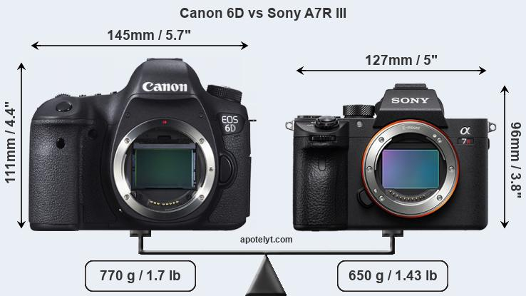 Canon 6D vs Sony A7R III front