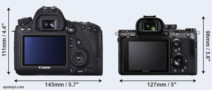 6D and A7R III rear side