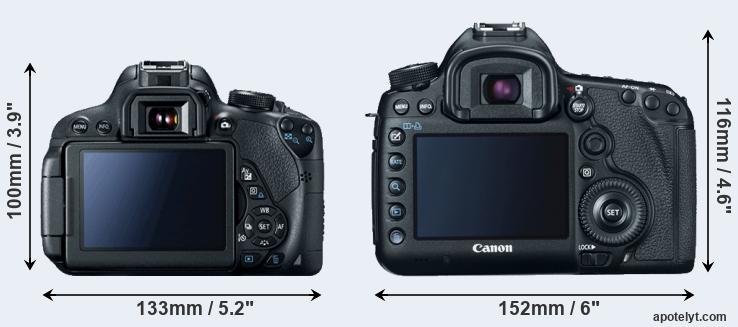 700D and 5D Mark III rear side