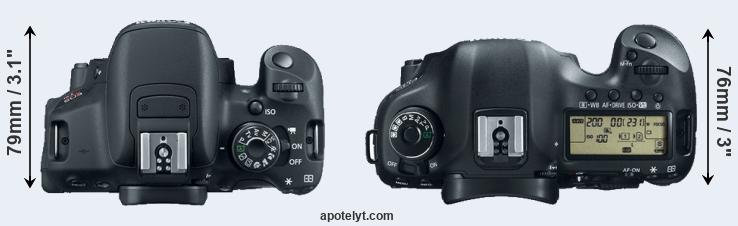 700D versus 5D Mark III top view