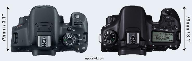 700D versus 70D top view