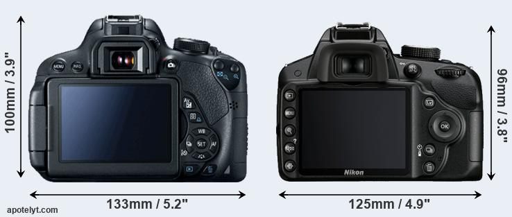 700D and D3200 rear side