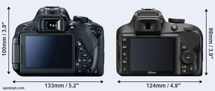 700D and D3400 rear side