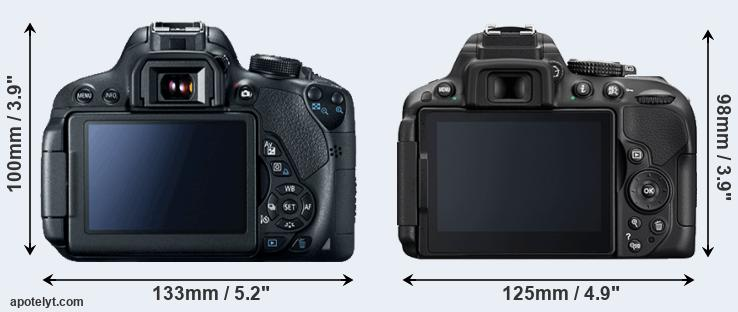 700D and D5300 rear side