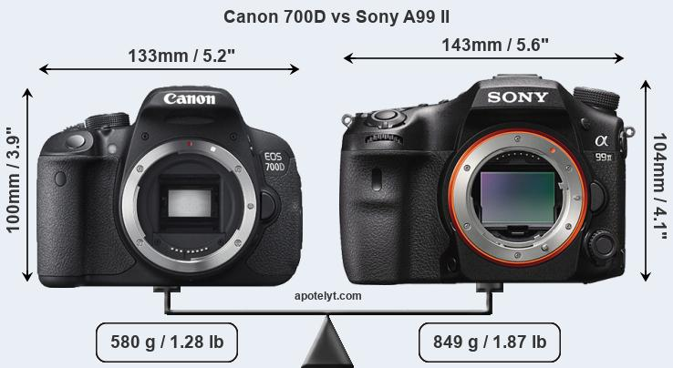 Size Canon 700D vs Sony A99 II