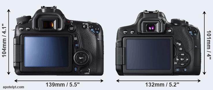 70D and T6i rear side