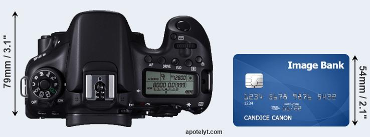 70D versus credit card top view