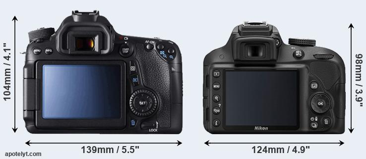 70D and D3300 rear side