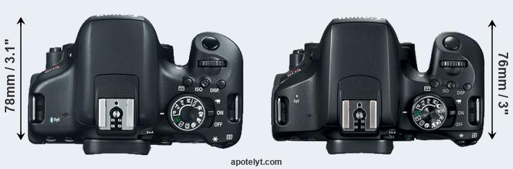 750D versus 800D top view