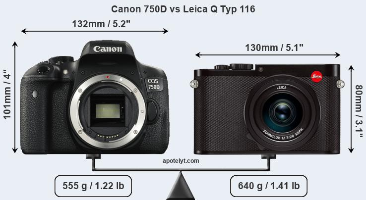 Size Canon 750D vs Leica Q Typ 116