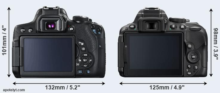 750D and D5300 rear side