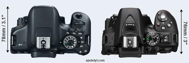 750D versus D5300 top view