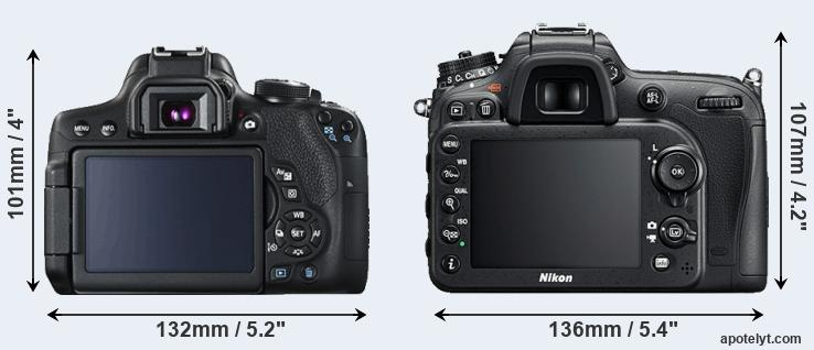 750D and D7200 rear side