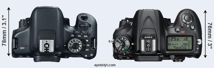 750D versus D7200 top view