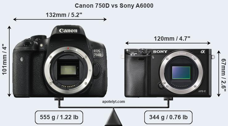 Size Canon 750D vs Sony A6000