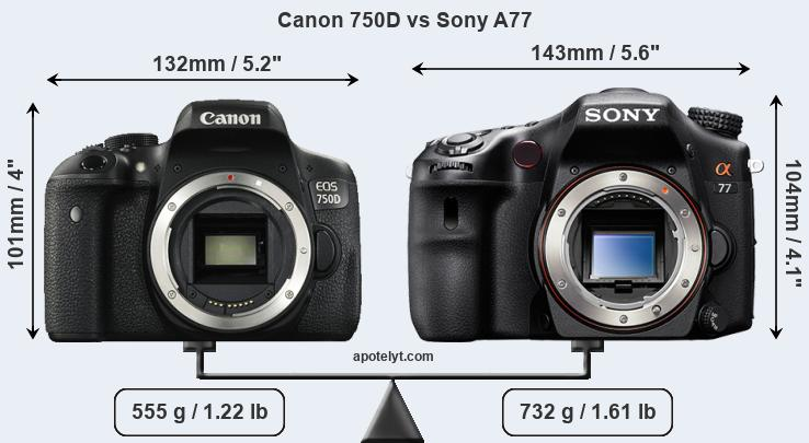 Size Canon 750D vs Sony A77