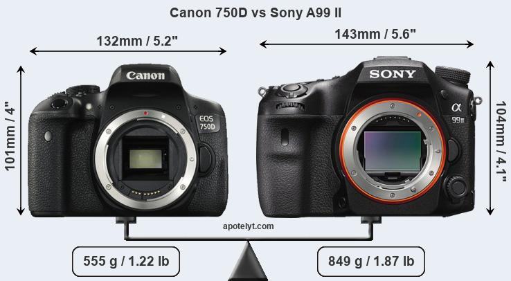 Size Canon 750D vs Sony A99 II