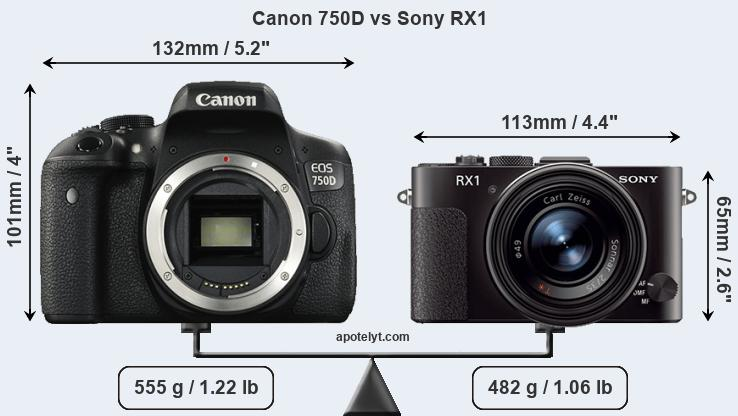 Size Canon 750D vs Sony RX1