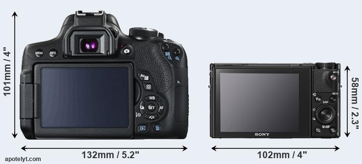 750D and RX100 V rear side