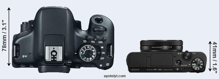 750D versus RX100 V top view