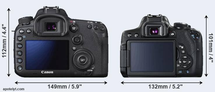 7D Mark II and 750D rear side