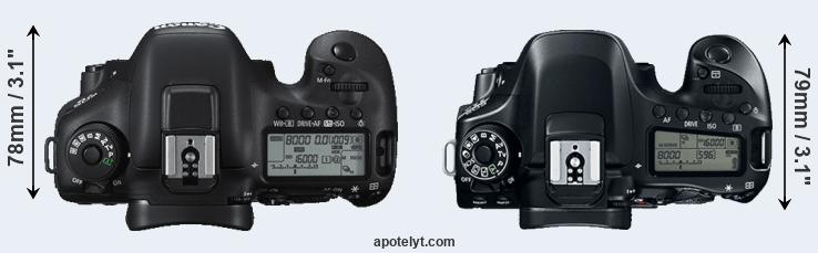 7D Mark II versus 80D top view