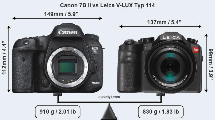 Size Canon 7D II vs Leica V-LUX Typ 114