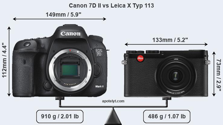 Size Canon 7D II vs Leica X Typ 113