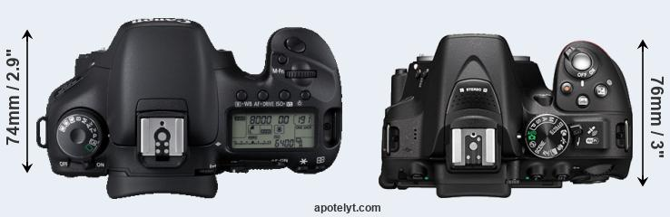 7D versus D5300 top view