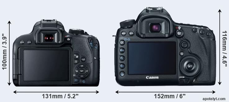 800D and 5D Mark III rear side
