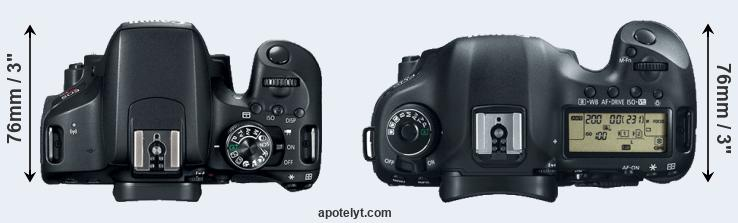 800D versus 5D Mark III top view