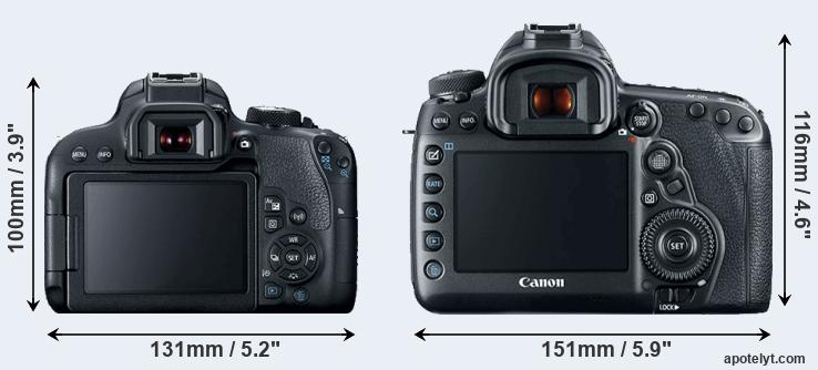 800D and 5D Mark IV rear side