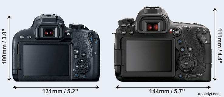800D and 6D Mark II rear side