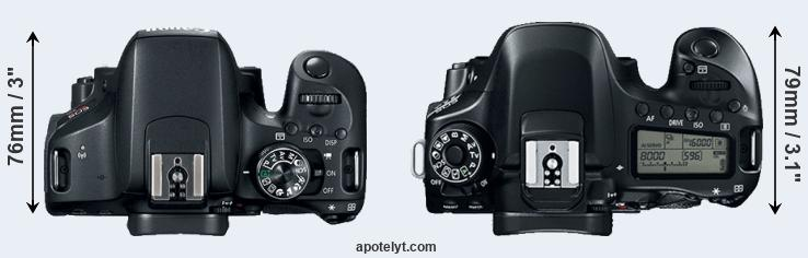 800D versus 80D top view