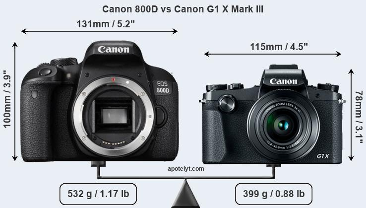 Compare Canon 800D vs Canon G1 X Mark III