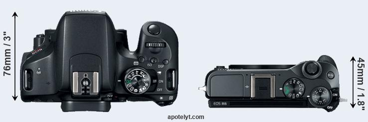 800D versus M6 top view