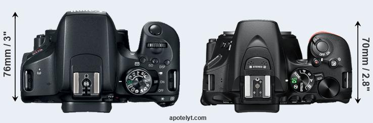 800D versus D5600 top view