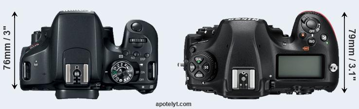 800D versus D850 top view