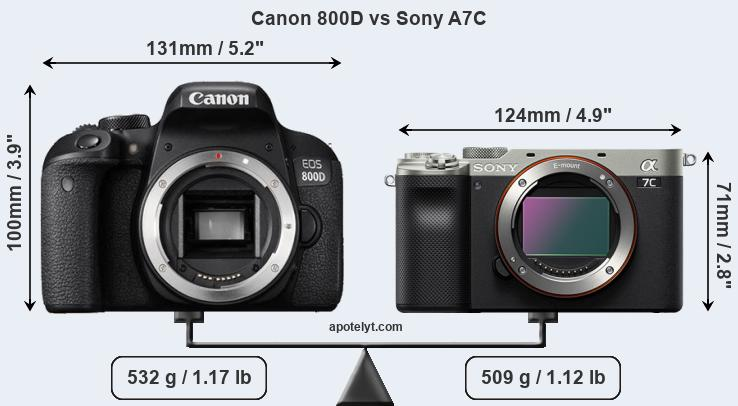 Size Canon 800D vs Sony A7C