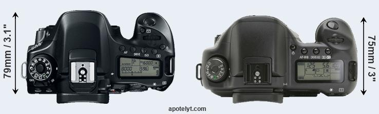 80D versus 10D top view