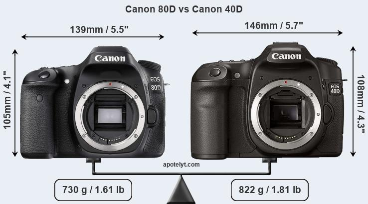 Canon 80D and Canon 40D sensor measures