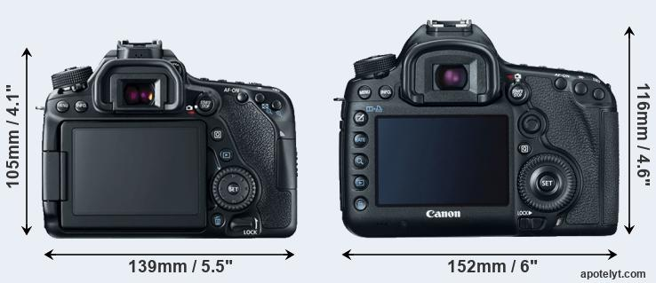 80D and 5D Mark III rear side